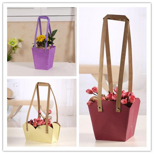 Flower Packing Bags Kraft Paper Pp Woven With Paper Rope Waterproof