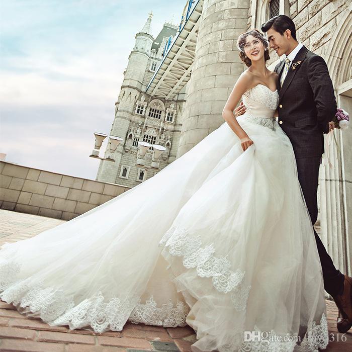 2016 Luxury High Grade Large Tail Wedding Dress Bra Korean Wedding - Korean Wedding Dress