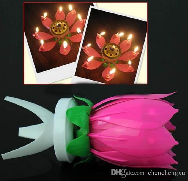 2015 Beautiful Blossom Lotus Flower Candle Birthday Party Cake Music Sparkle Cake Topper Candle