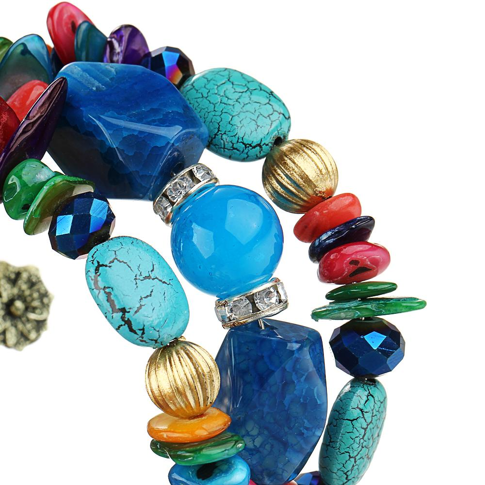 17 KM Marca Mujer Boho Granos de Múltiples Capas Pulseras para Las Mujeres Vintage Resina Pulseras de Piedra Brazaletes Pulseras Joyería Étnica