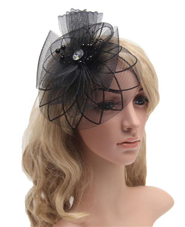 New 2016 French Romance Debutante Hair Accessories Gauze Rhinestone Beads Fascinators Wedding Party Hair Jewelry DCBJ664