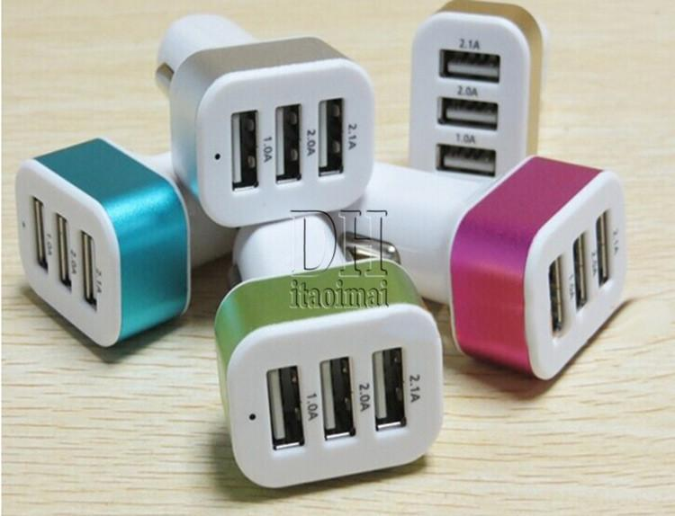 3 порта USB автомобильное зарядное устройство металлическое кольцо 5 В 5.1A универсальный красочный адаптер для iphone 6 Samsung Note 4 DHL