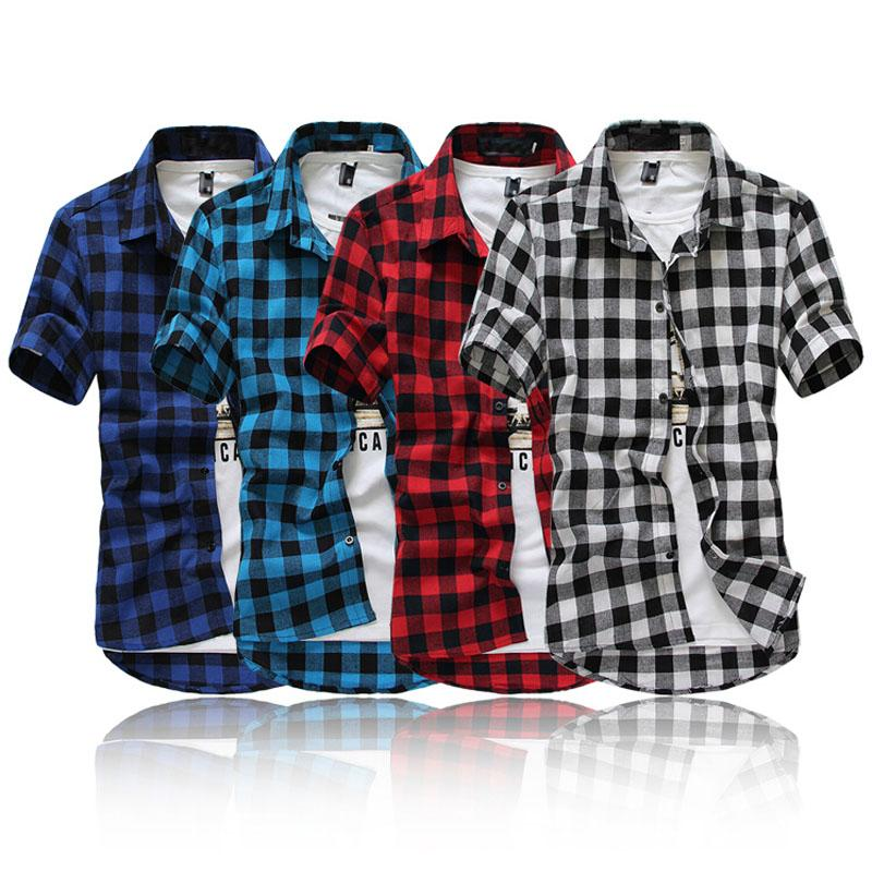Men 39 s young adult casual plaid button up short sleeve turn for Best short sleeve button down shirts reddit