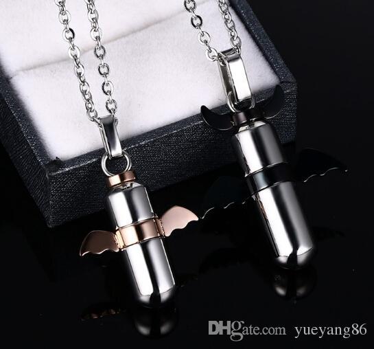 Populaire Nouveau Design Amant Vente Chaude Demon Noir Rose Or ailes pendentif bouteille pendentifs Couple Collier En Acier Inoxydable Bijoux