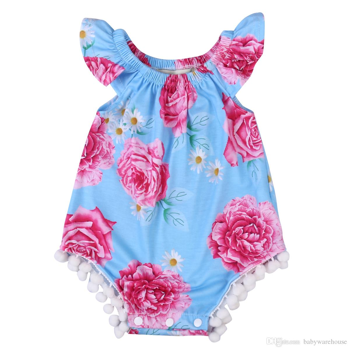 476214ebfc80 2019 Newborn Clothes Baby Romper Flower Baby S One Piece Suits Baby ...
