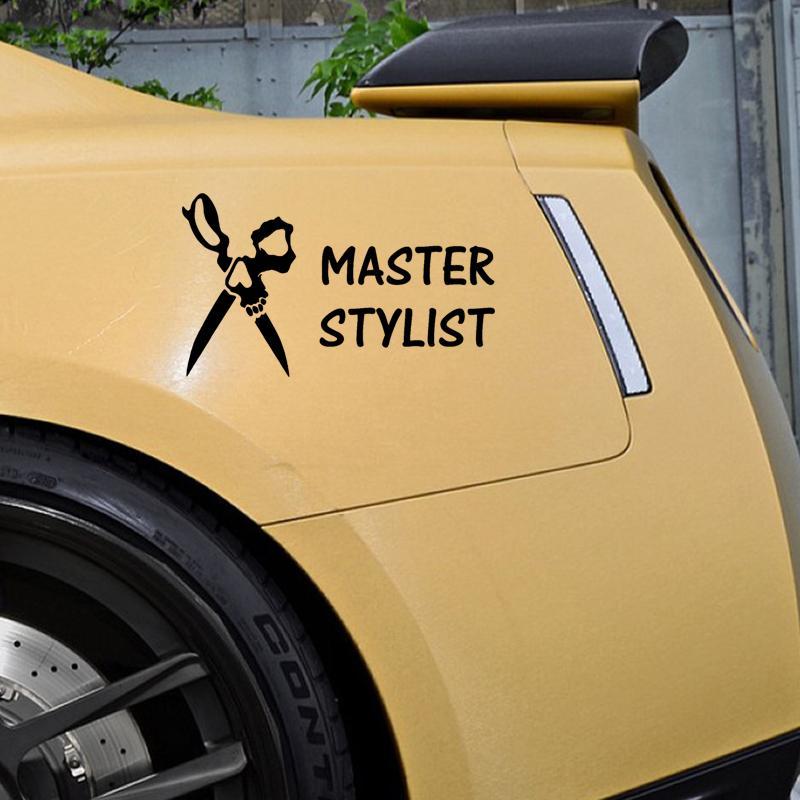 Master Hair Stylist Hairdresser Skull Scissors Window Decal - Hair stylist custom vinyl decals for car