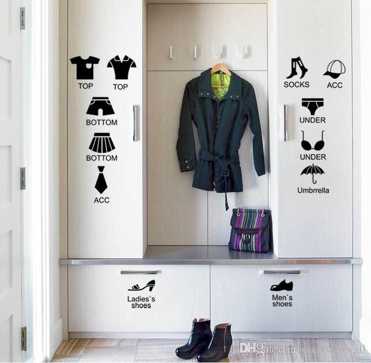 Chemises noires Chaussures Vêtements Collection Boîte Décor Autocollant Magasin De Vêtement Fenêtre Verre Décoration Papier Peint Autocollant Classification Autocollant