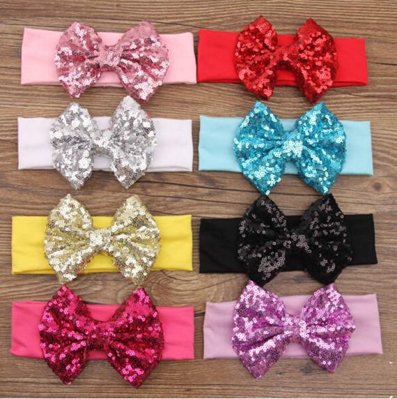 2016 New Posh Girls Headband, Knit Cotton Girls Heaband, Accessorio per capelli con paillettes Big Bow, paillettes Bow Headwraps per bambini