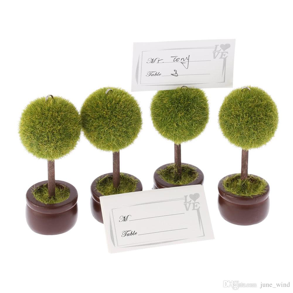 4pcs Lovely Green Pot Plant Place Card Holders Table Mark Cards for Wedding Banquet Decoration