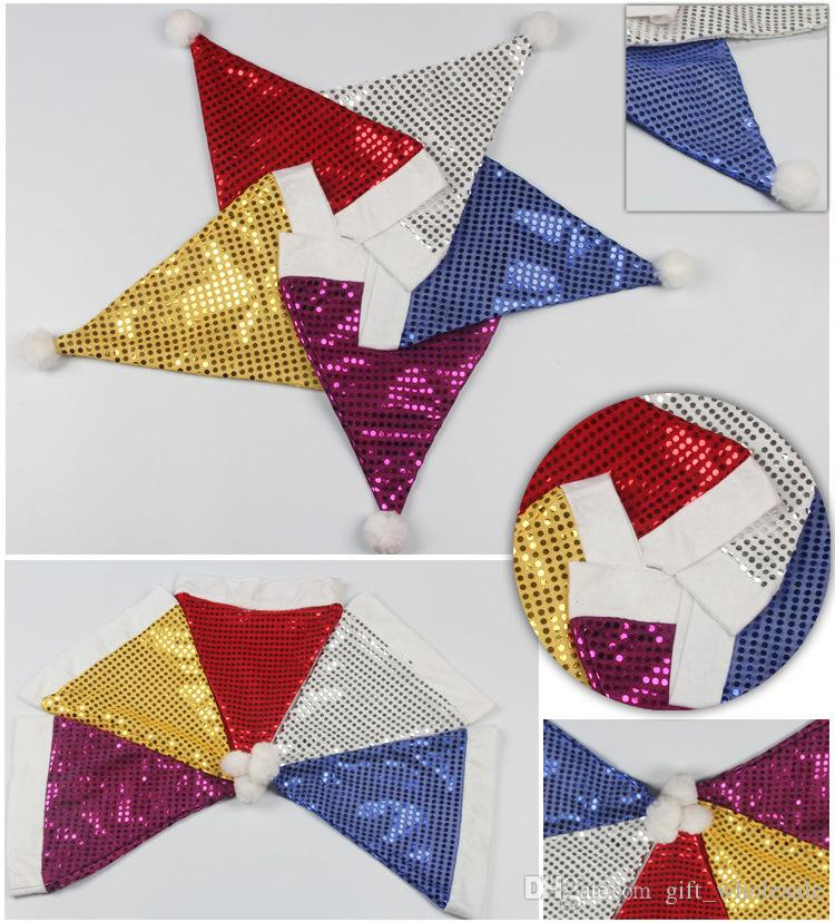 Christmas Hats With Sequins Santa Claus Hats Christmas Pleuche Fabrics Hats Headdress Christmas Decorations