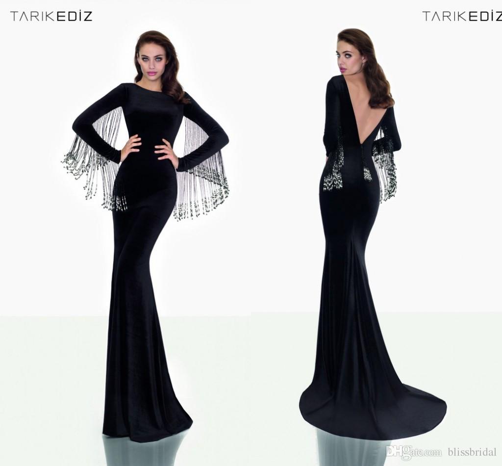 Classy Black Backless Evening Dresses Long Sleeves Winter Formal ...