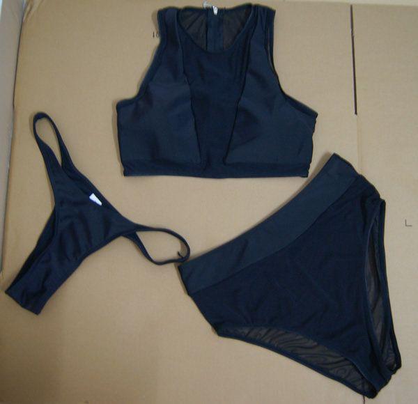 / set sexy Frauen drücken hohe Taille Bikini Set Gaze Mesh Bademode Badeanzug
