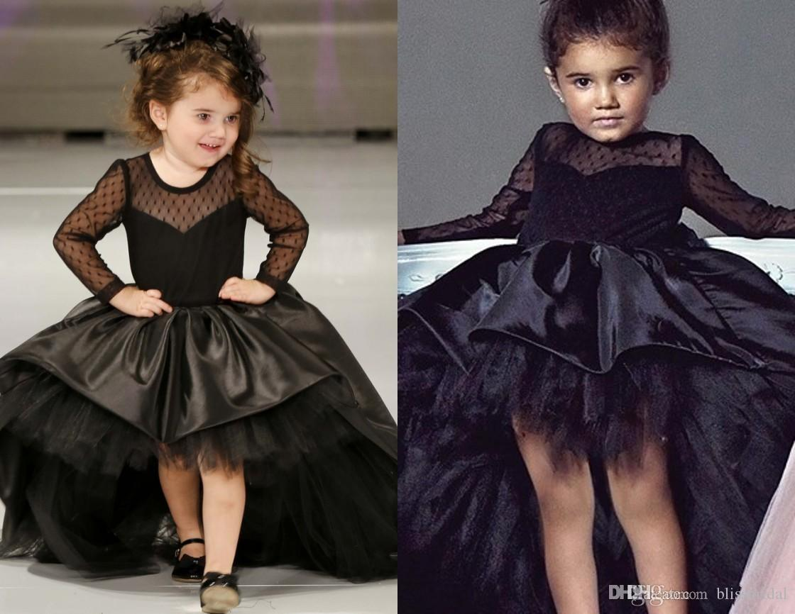 a705b97004 Ball Gown Black FOrmal High Low Kids Pageant Dresses Tulle Long Sleeves  Sheer Back Bow Flower Girl Dresses Satin Party Gowns Polka Dot Flower Girl  Dress ...