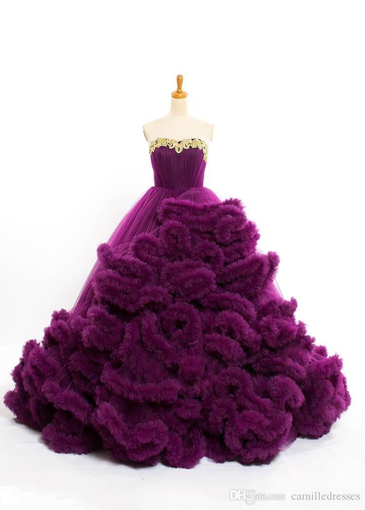 Compre Vestido De Boda Púrpura Del Diseñador De Lujo 2016 Azul Real ...
