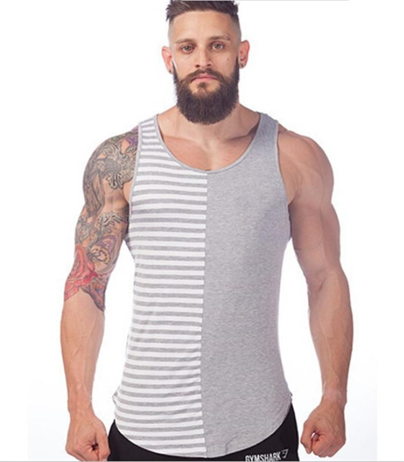 Online Cheap New Mens Gym Shirts Stripe Pattern Men Sleeveless T ...