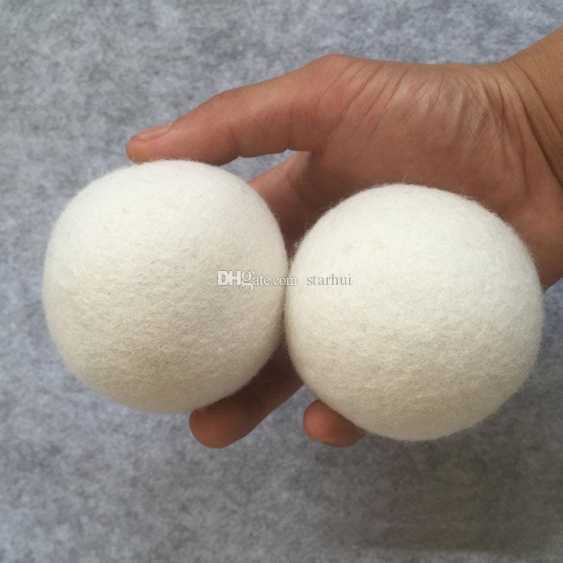 6 قطعة / الوحدة الصوف مجفف كرات تقليل التجاعيد reusable الطبيعي المنقي مكافحة ساكنة كبيرة الصوف العضوية مجفف الملابس الكرة WX9-189