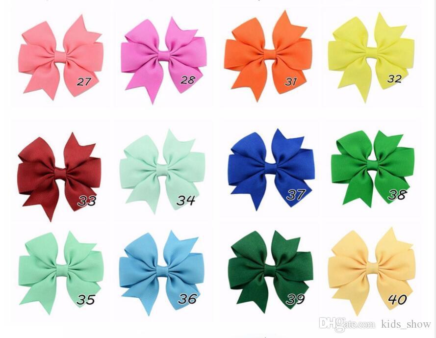 Moda 3 Inç Sevimli Butik Saç Pin Grogren Kurdele Yay Saç Kayaları Küçük Kız Yaylar Saç Klipleri Çocuklar Şapkalar Aksesuarları Yeni 40 Renkler