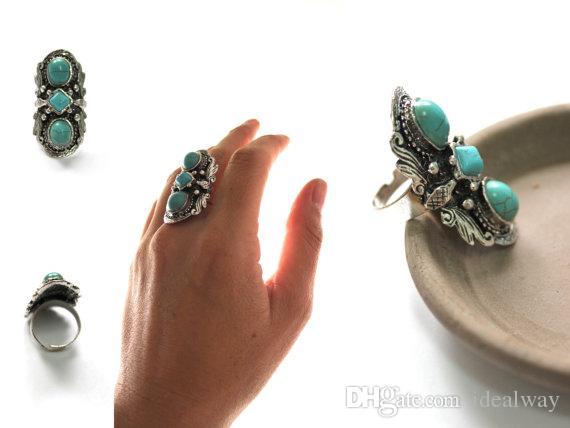 Un estilo Estilo vintage Aleación de plata turca Talla personalizada Anillos de dedo turquesas de piedra persas antiguos