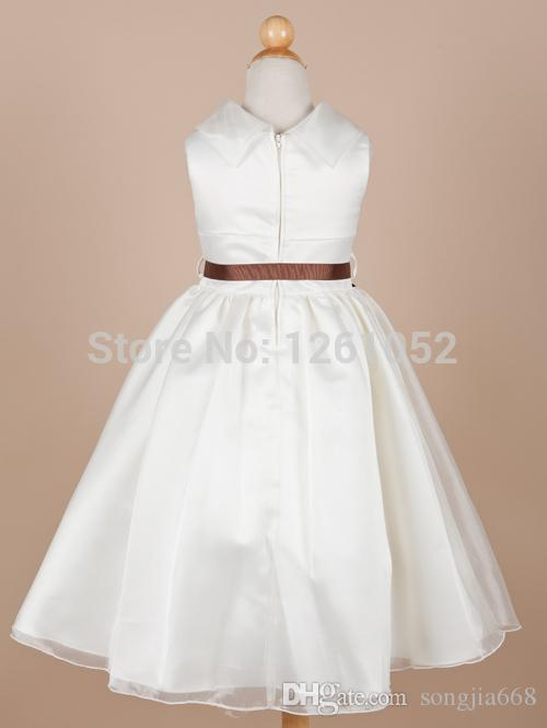 2020 Free Shipping White Ball Gown High-neck Sleeveless Ankle-length Taffeta Flower Girl Dresses With Sashes Custom Made