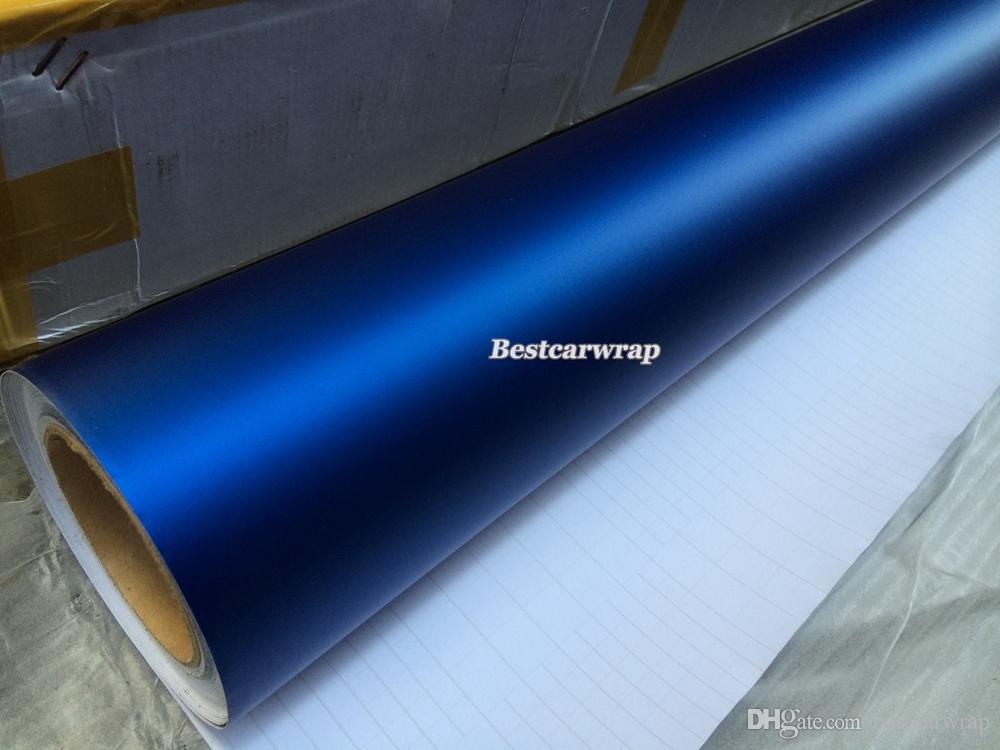 Высокое качество Matt Metallic Blue Vinyl Для автомобиля упаковочная машина Графика с пузырьками Бесплатно как 3м качества Размер 1.52x20m / Roll 5x66ft