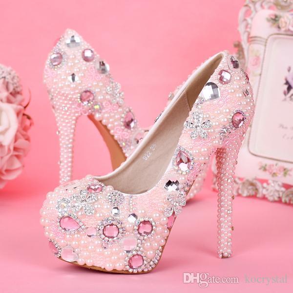 fa9d53e3264f8 Fancy Pink Pearl Rhinestone Bridal Dress Shoes High Heel Pumps Wedding Shoes  For Girls Fuchsia Wedding Shoes Fuschia Wedding Shoes From Kocrystal