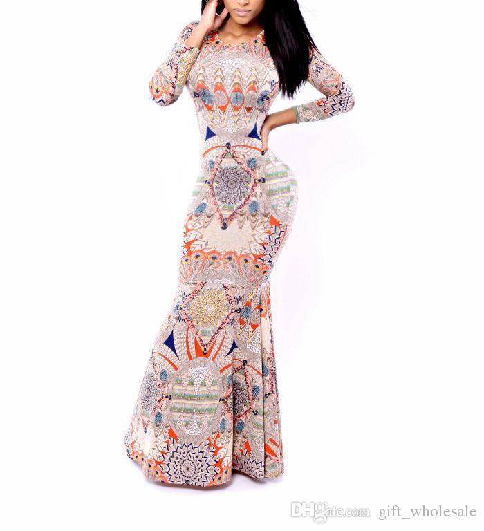 Wholesale - New Fashion Woman Elegant Printed Long Sleeve Fish Tail Floor Length Dress Evening Party Wedding Party Dress S-XXL