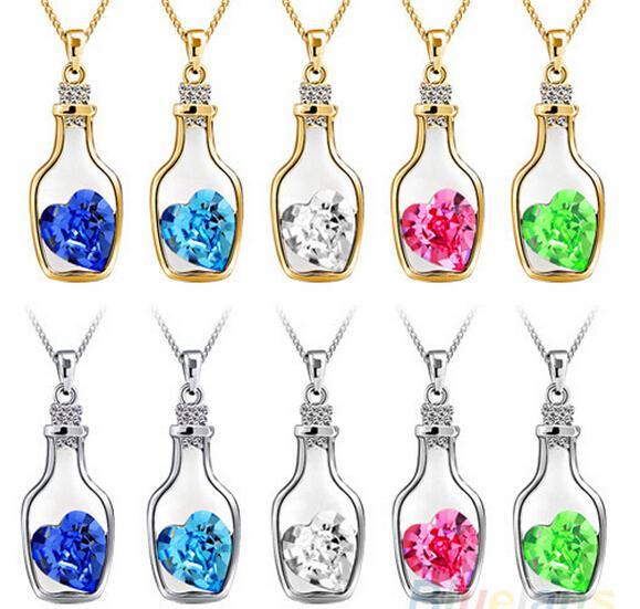 Fashion 925 Silver Necklaces Swarovski Elements Austrian Crystal plating platinum necklace pendant Love Heart Wishing Bottle necklaces