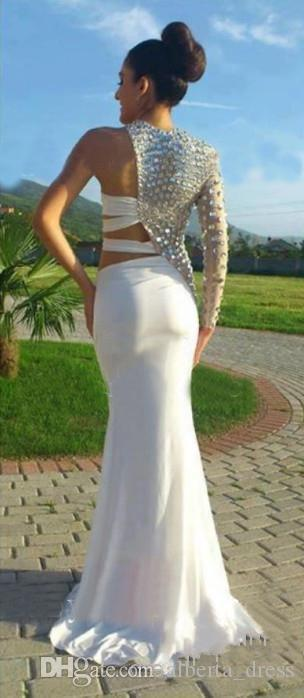 Sexy Prom Dresses 2015 Asymmetrical One Sleeve Cut Out Prom Dress Crystal Beaded Evening Gowns Fitted Pageant Dresses China Prom Dresses2016