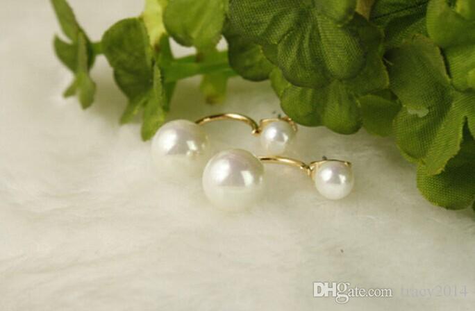 2016 New Fashion 925 Plated Silver Pearl Dwustronne Stadniny Kolczyki Kobieta Akcesoria ślubne Fabryka Sprzedaż Direct Sprzedaż Biżuteria dla kobiet
