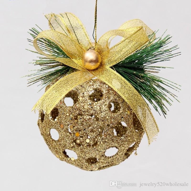 Hollow Christmas Ball Christmas Tree Ornaments 8cm Home Decoration Christmas Balls Red And Gold High Gradetree Pendant