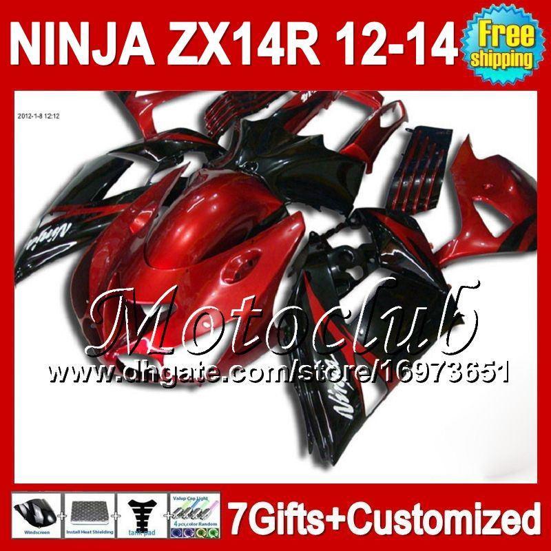 7direcciones para KAWASAKI NINJA ZX-14R 2012 2013 2012 2013 Rojo negro ZX 14 R 25C68 ZX 14R 12-13 ZX14R 12 13 12 13 ZX14 R Carenado rojo oscuro negro