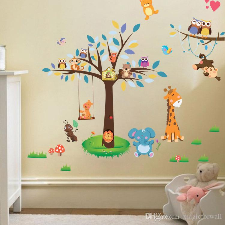 Nuovo arrivo Animal Paradise Wall Sticker Giraffa Monkey Forest Tree Decalcomanie da muro Decor for Living Room Baby Kids Nursery Children Room