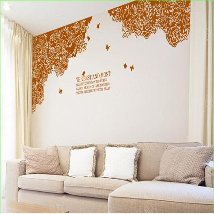 Large Flower Wall Decals Tv Background Rose Sticker Home