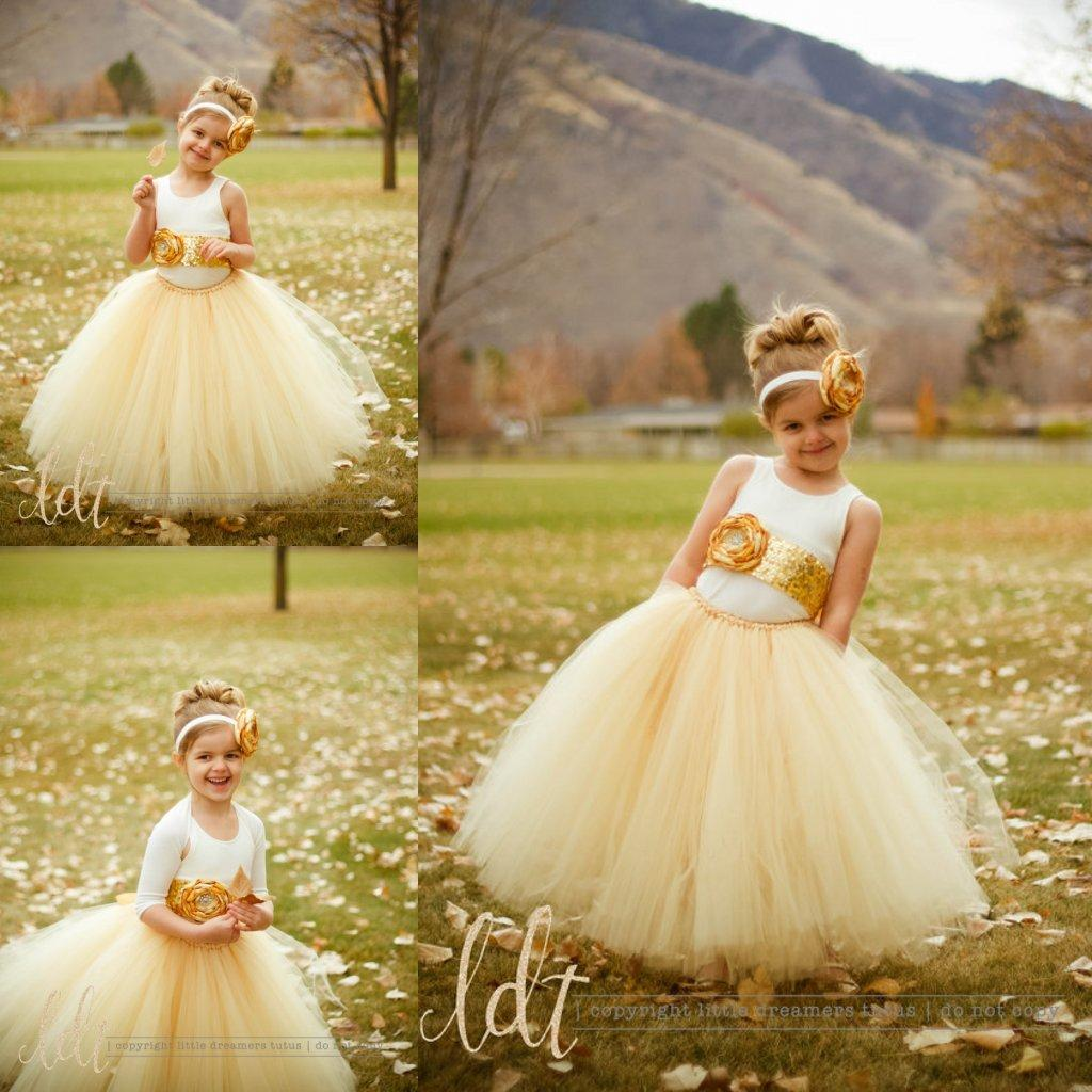 Gold Sequin Flower Sash Ivory Tank Top Tutu Flower Girl Dresses With