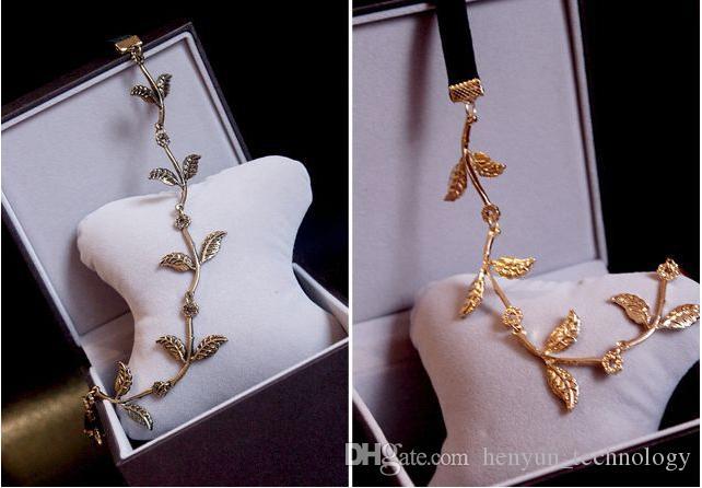 3 unids Nueva Moda de Oro Elástico Romántico Rama de Olivo Hojas Head Bands Cabello de los niños Accesorio diadema de la señora