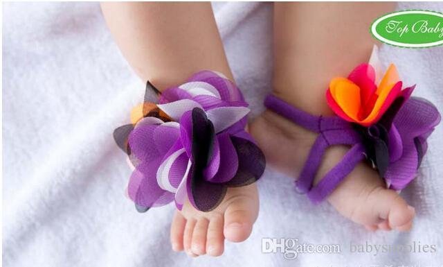 유아 아기 맨발 양말 샌들 신발 어린이 발 장식품 유아 꽃 양말
