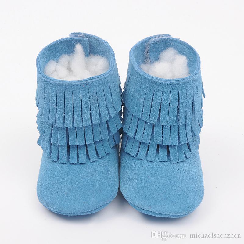 12 Cor Bebê mocassins sola macia PU couro primeiro walker sapatos bebê recém-nascido sapatos de couro Tassels maccasions boot / bootie sweet girl B001