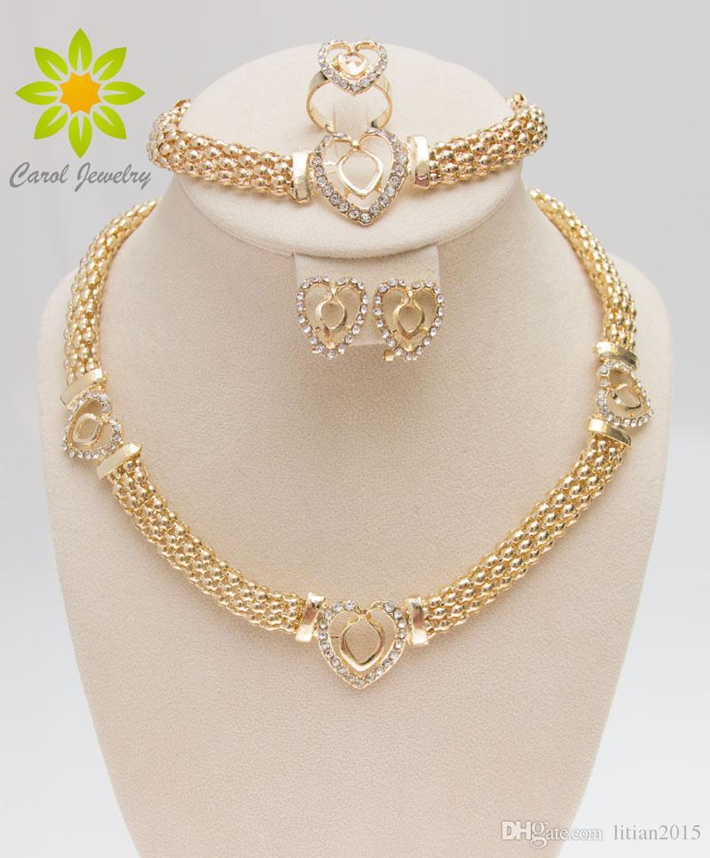 669e358b04 Dubai 18K Gold Plated Heart Shape Necklace Set Fashion Crystal ...