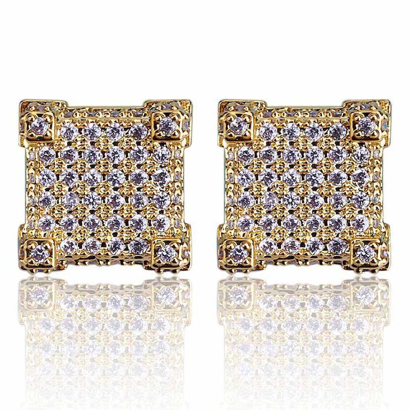 Mode Vis dos CZ Boucles D'oreilles Stud Hommes Marque Designer Hiphop Bijoux Or Argent Zircon Percé Oreille Stud Bijoux En Gros