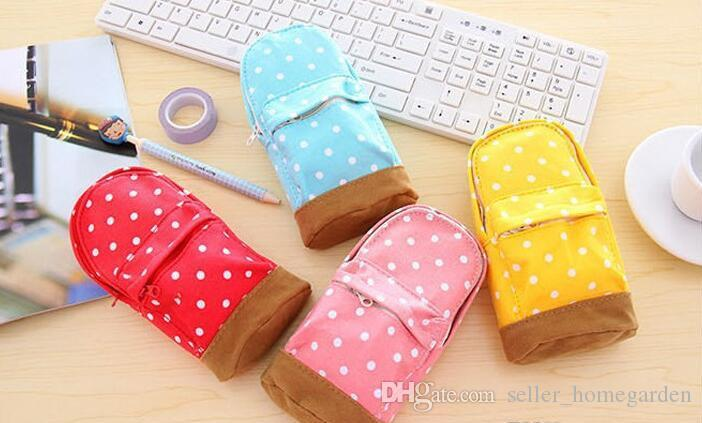 New Stationery Multifunctional big capacity pencil case Dot school bag pattern Cute storage box Pencil Bag Pen Holder 17111406