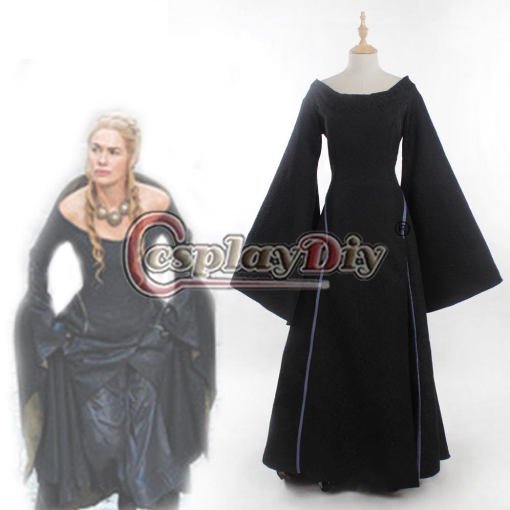 game of thrones cersei lannister dress costume black version halloween movie cosplay costume adult women plus size custom - Halloween Costumes With A Black Dress