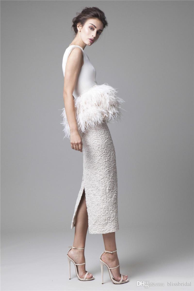 Krikor Jabotian White Feathers Evening Dresses 2016 Formal Back Split Peplum Fur Pencil Sheath Tea Length Prom Gowns Lace Party Gowns