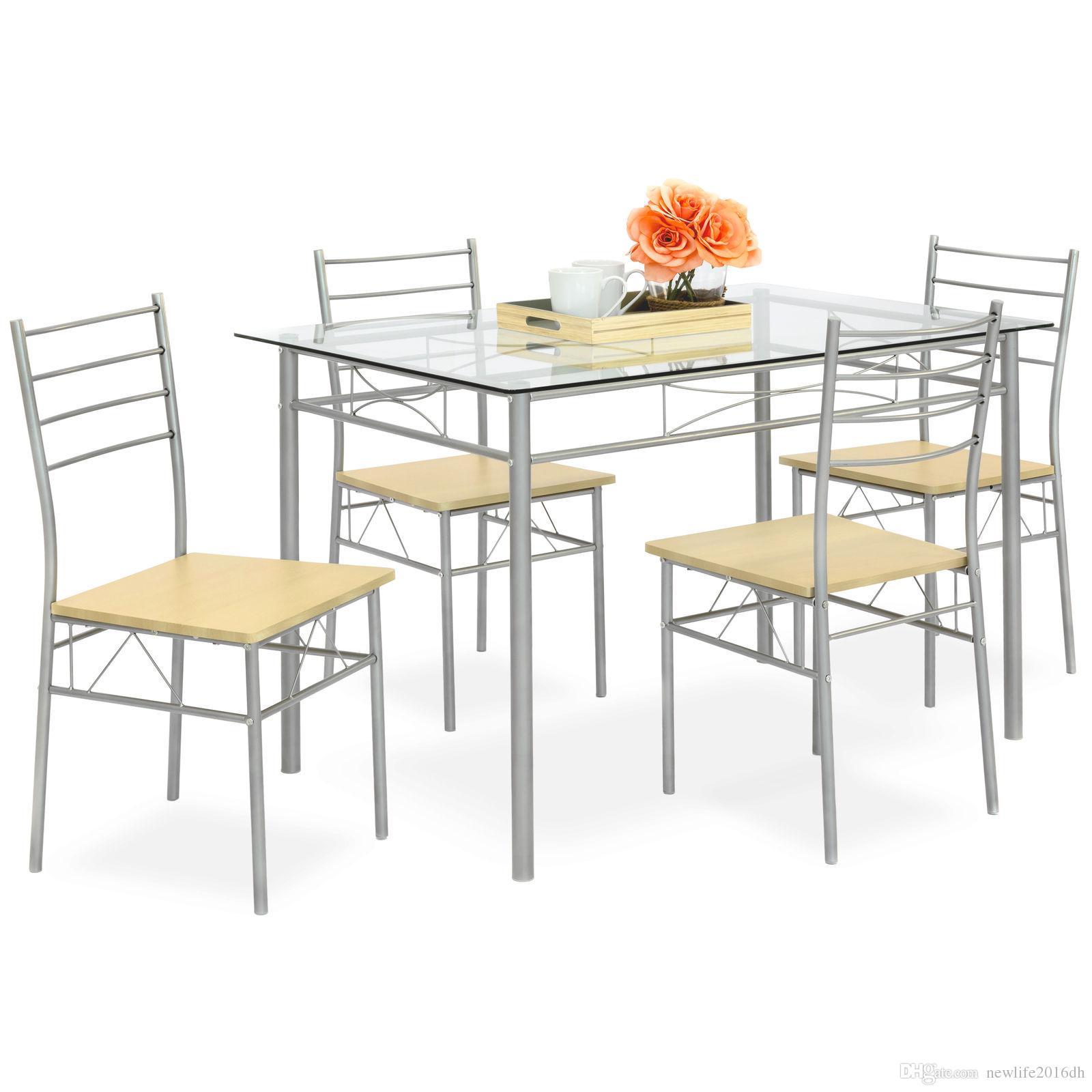 Juego de mesa de comedor BCP Home de 5 piezas con tapa de vidrio, 4 sillas  (plata)
