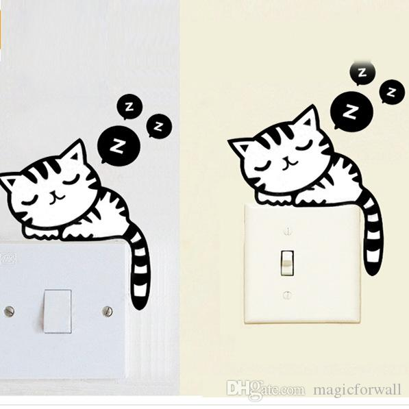 Hot Sale Cute Cartoon Sleeping Cat Switch Sticker Removable Funny Home Decoration Switch Art Wall Sticker
