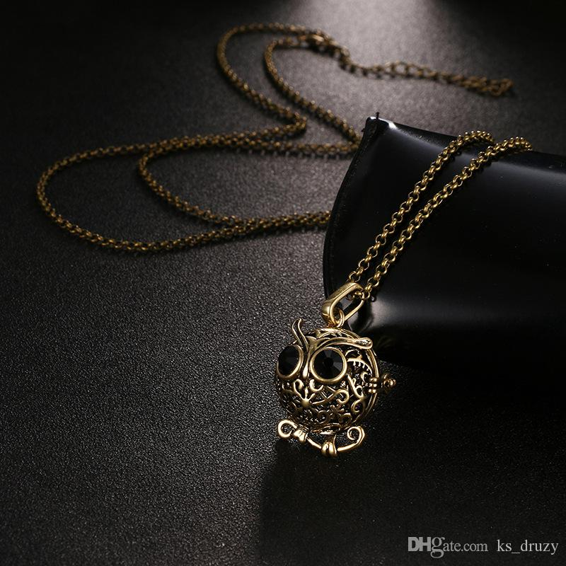 Fashion Perfume Essential Oil Diffuser Locket Necklace Night Owl Pendant Charms with chain 1 felt Cotton Ball DIY Pregnancy Sound Jewelry