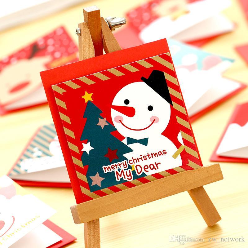 12 pçs / lote Bonito Dos Desenhos Animados Cartão De Natal Mini Cartão de Saudação Define Mensagem Bênção Cartão com Envelopes