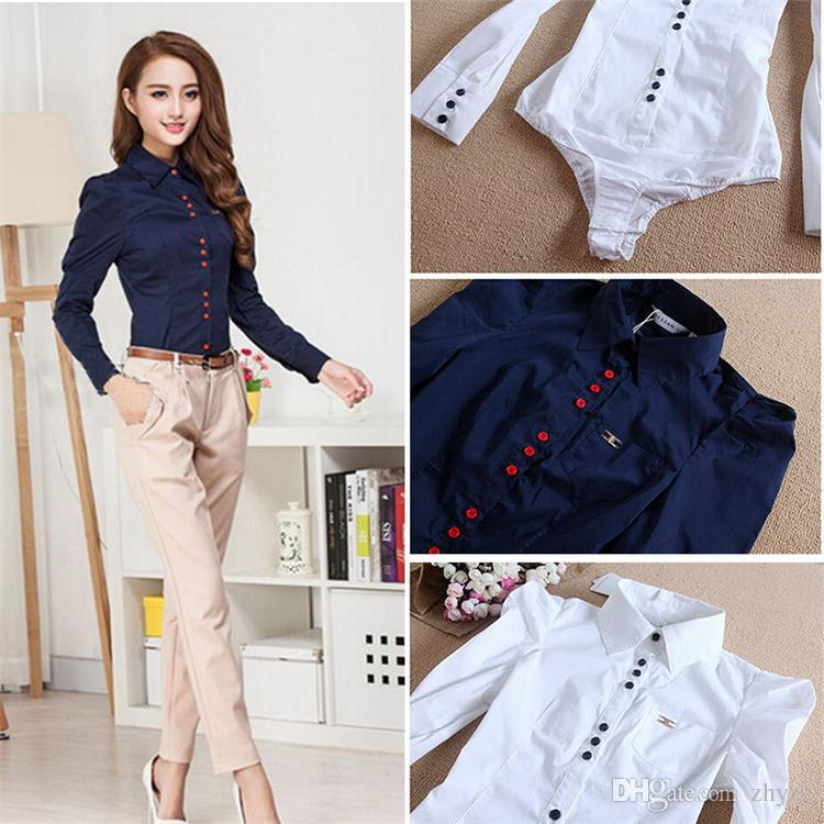 New Arrival Women's Turn-down Collar full sleeve button Panelled Office Blouses Adult Ladies Bodysuit White Blusas Shirts Tops