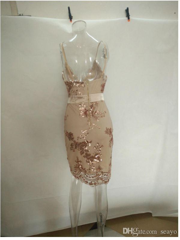 Новые европейские и американские блестки, тип цветка талии, парчовое платье. Слинг глубокий V холтер платье, золотой цвет, черный и зеленый.