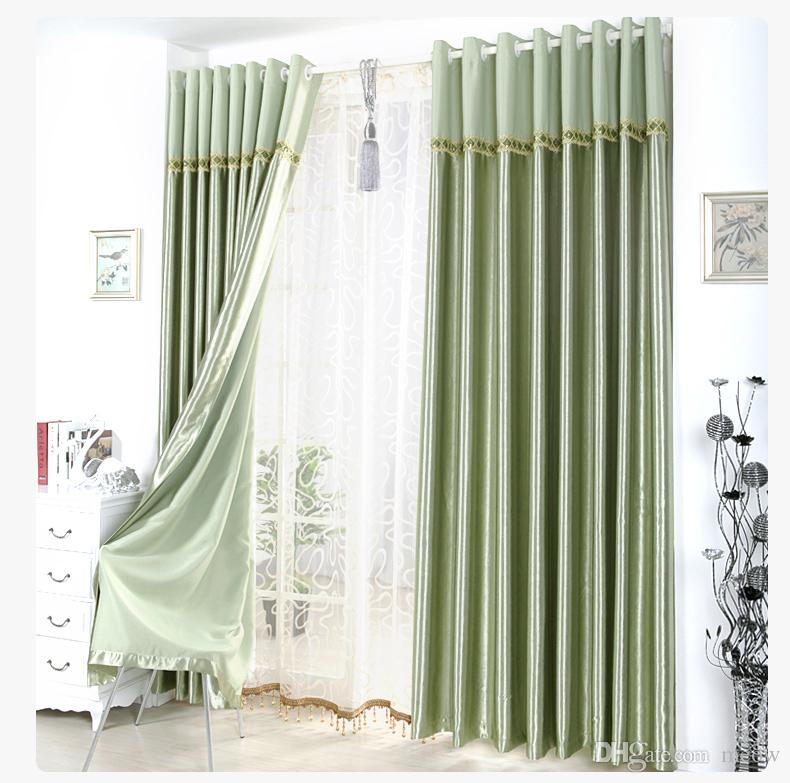 best satin blackout curtain thick shade sunshade blackout cloth curtains living room bedroom great quality curtains with lace head drape under 588