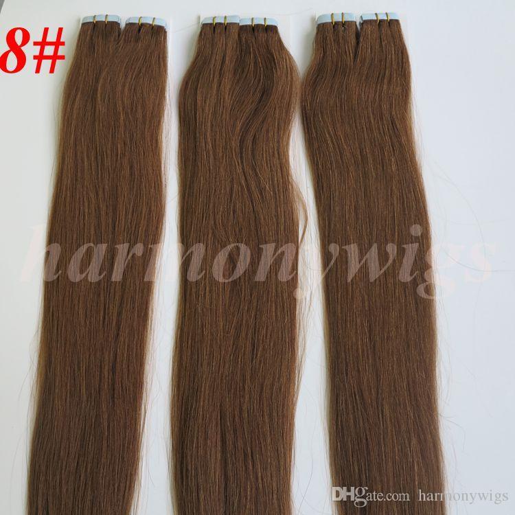 50g / pack Colle Skin The Theft PU Ruban adressé dans des extensions de cheveux humains 18 20 22 24inch Extension des cheveux indiens brésiliens